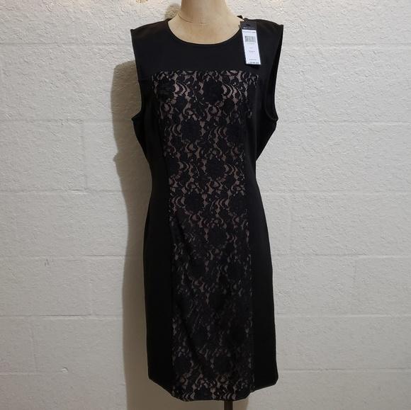 BCBGMaxAzria Dresses & Skirts - BCBGMaxAzria Black w Nude Lace Peek Bodycon Dress